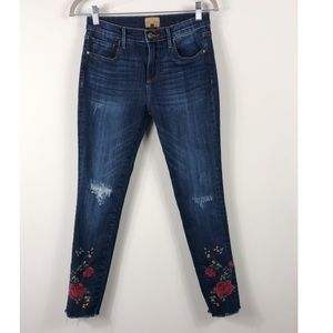 Driftwood Jackie Distressed Embroidered Jeans